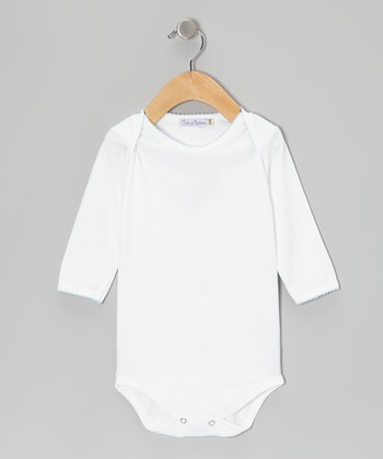 White & Blue Bodysuit - Infant