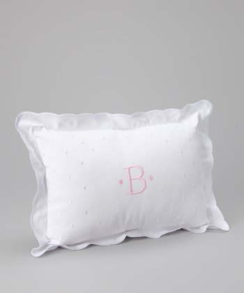 White & Pink Initial Pillow