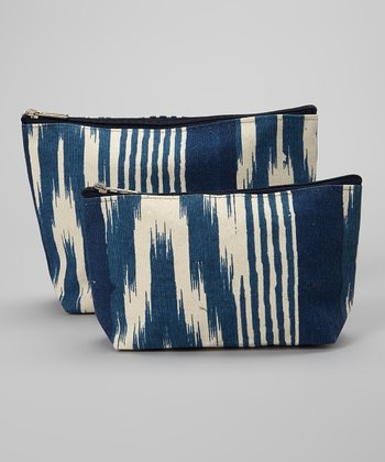 Navy Ikat Stripe Zip Bag Set