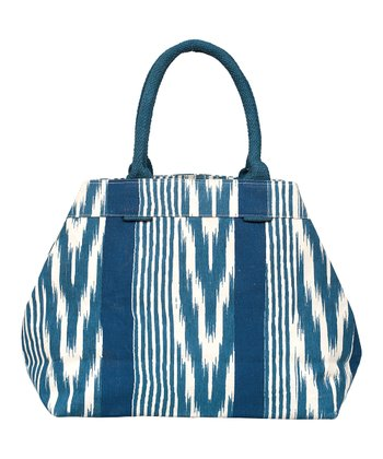 Navy Ikat Stripe City Tote