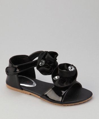 Black Double Rosette Apple 13 Sandal