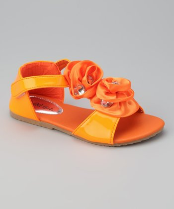 Orange Double Rosette Apple 13 Sandal