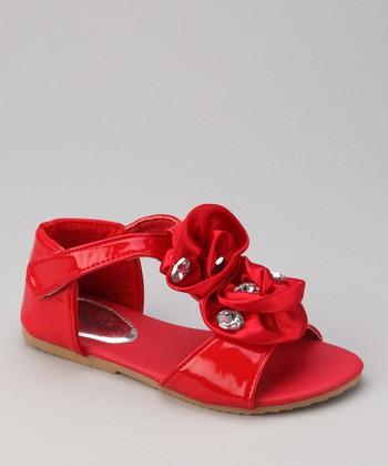 QQ Girl Red Double Rosette Apple 13 Sandal