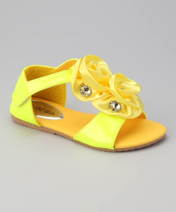 Yellow Double Rosette Apple 13 Sandal
