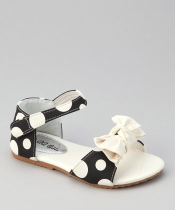 Black & White Apple 77 Polka Dot Sandal