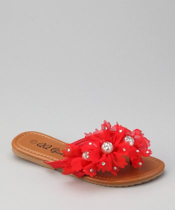 QQ Girl Red Floral Play Flip-Flop