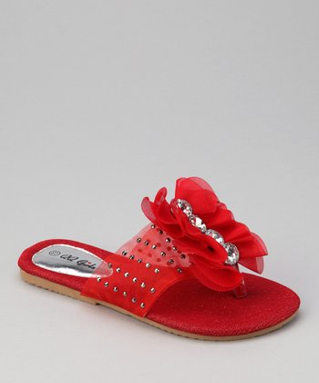 QQ Girl Red Studded Play Flip-Flop