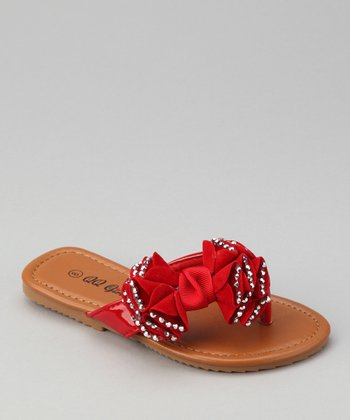 Red Play-99 Rhinestone Bow Sandal