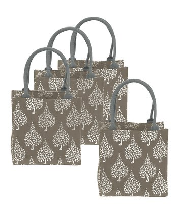 Gray Crete Itsy Bitsy Tote - Set of Four