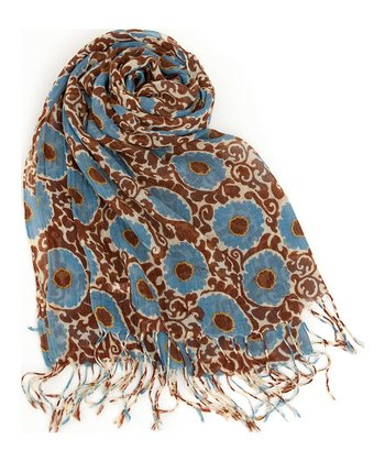 Brown & Blue Imperial Rosette Scarf