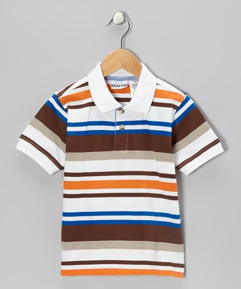 Orange Stripe Basketball Polo - Toddler & Boys