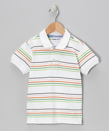 White Stripe Polo - Toddler