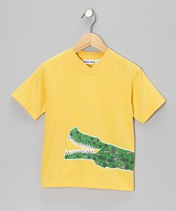Yellow Crocodile V-Neck Tee - Toddler & Boys