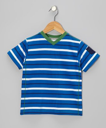 Cobalt Blue & White Stripe V-Neck Tee - Toddler & Boys