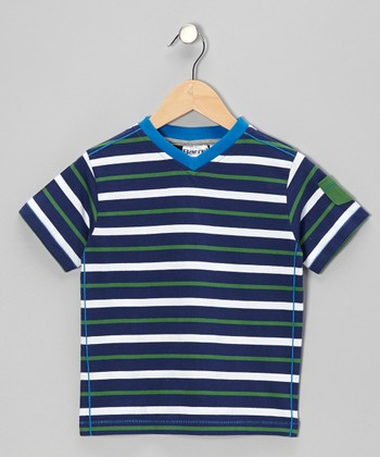 Navy & Green Stripe V-Neck Tee - Toddler & Boys