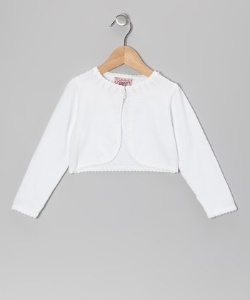 White Beaded Cropped Cardigan - Toddler & Girls