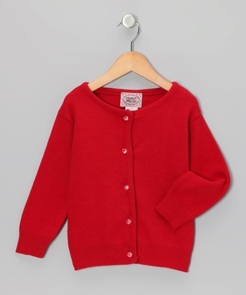 Red Crystal-Button Cardigan - Infant, Toddler & Girls