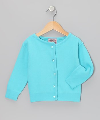 Turquoise Crystal-Button Cardigan - Infant, Toddler & Girls