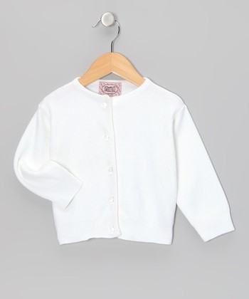 White Crystal-Button Cardigan - Infant & Toddler