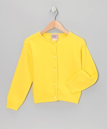 Yellow Crystal-Button Cardigan - Toddler & Girls