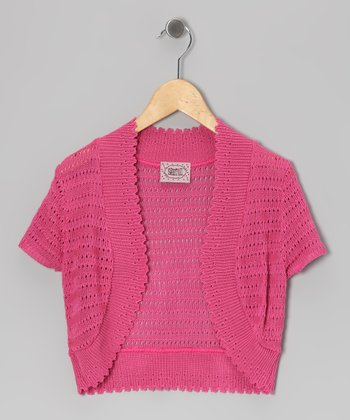 Pink Pointelle Open Cardigan - Girls