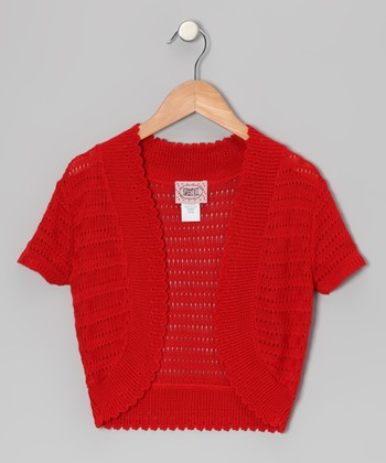 Red Pointelle Open Cardigan - Girls