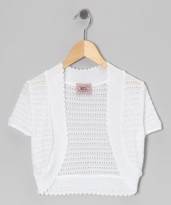 White Pointelle Open Cardigan - Girls
