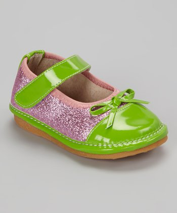 Light Pink & Green Glitter Squeaker Mary Jane