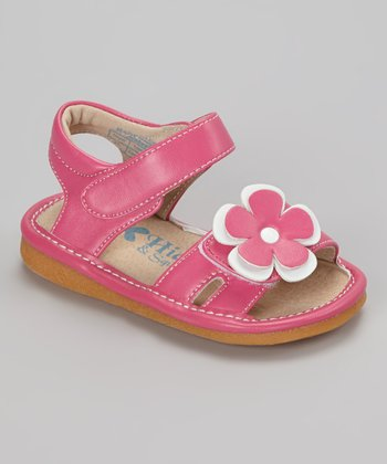 Hot Pink & White Flower Squeaker Sandal