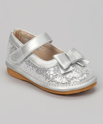 Silver Sequin Bow Squeaker Mary Jane