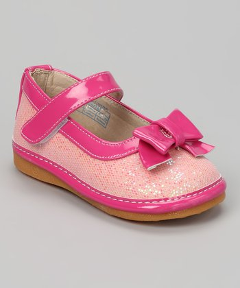 Pink Sequin Bow Squeaker Mary Jane