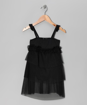 Black Ruffle Skirted Leotard - Girls