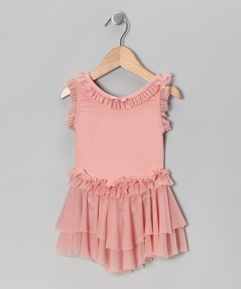 Romantic Pink Bow Ruffle Skirted Leotard - Girls