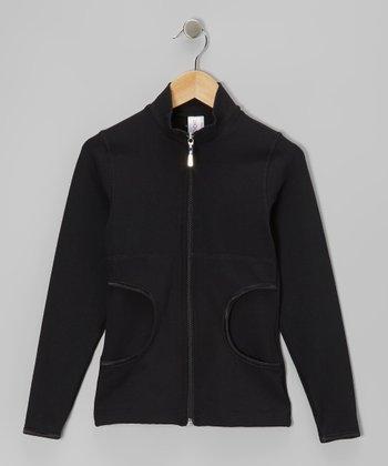 Black Cutout Pocket Jacket - Girls