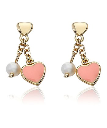 Pink & Gold All My Love Heart Dangle Earrings