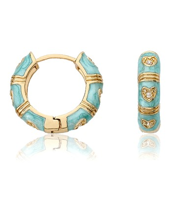 Aqua & Gold Flower Huggie Earrings