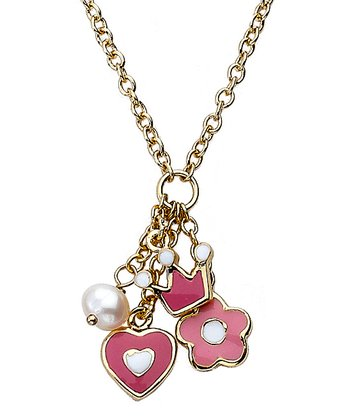 Pink Gold Charm Cluster Necklace