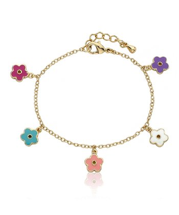 Bright Enamel & Gold Flower Charm Bracelet