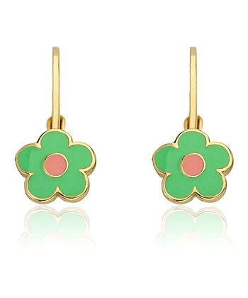 Mint & Gold Flower Leverback Earrings