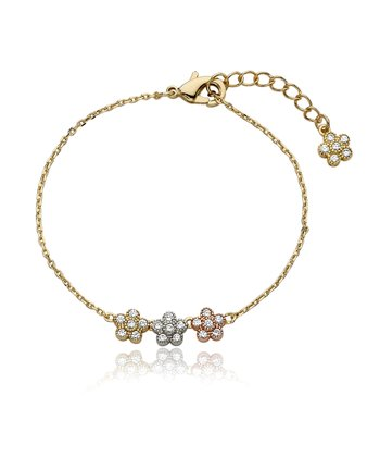 Crystal & Gold Small Flower Bracelet