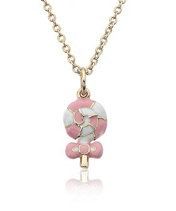 Pink & Gold Swirl Lollipop Pendant Necklace