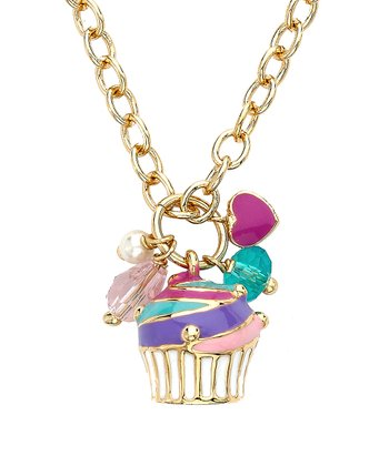 Pink & Gold Swirl Cupcake Necklace