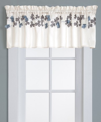Ivory Flower Drops Kitchen Valance