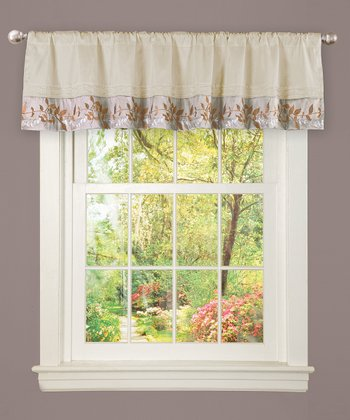 Ivory & Taupe Bloom Valance