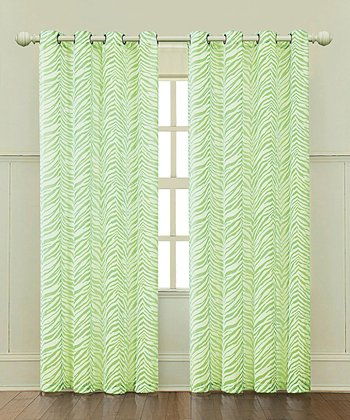 Lime Ombre Zebra Curtain Panel
