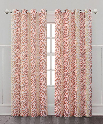 Orange Ombre Zebra Curtain Panel