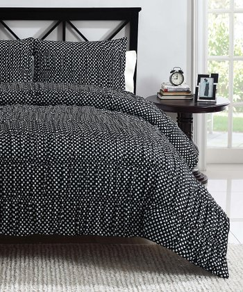 Black Polka Dot Ruched Reversible Comforter Set