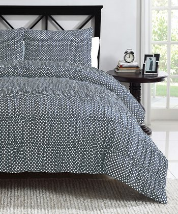 Gray Polka Dot Ruched Reversible Comforter Set