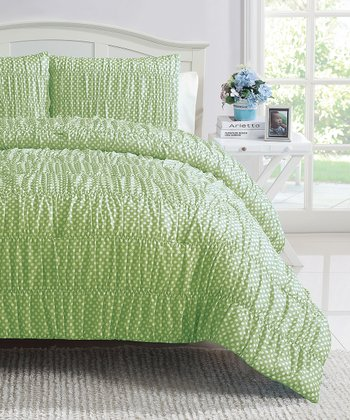 Green Polka Dot Ruched Reversible Comforter Set