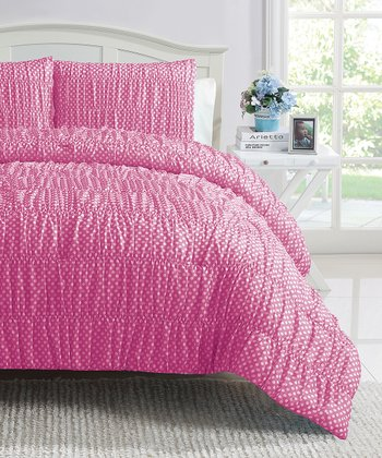 Pink Polka Dot Ruched Reversible Comforter Set